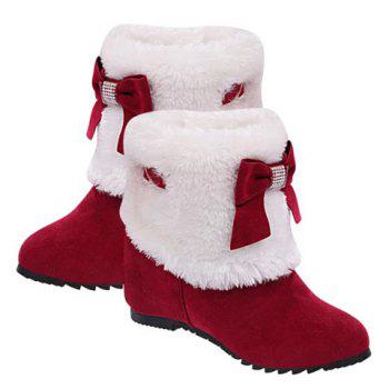 Wedge Heel Bow Trimmed Ankle Boots - RED 35