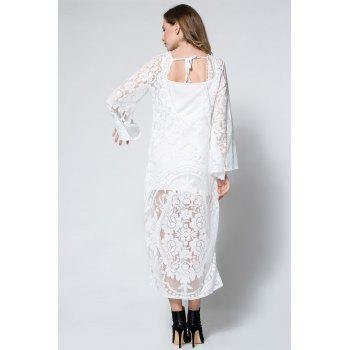 Flare Long Sleeve Backless Beach Maxi Lace Dress - WHITE M