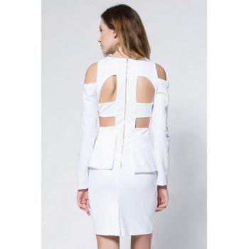 Crepe Cold Shoulder Cage Back Body-Conscious Dress - WHITE L