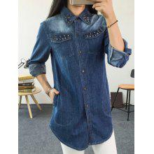 Attractive Rivet Decorated Long Sleeve Loose Denim Shirt For Women
