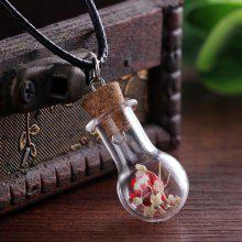 Dried Flower In Glass Shape Pendant