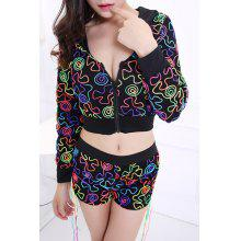 Fashionable Women's Hooded Print Two-Piece Dance Costume