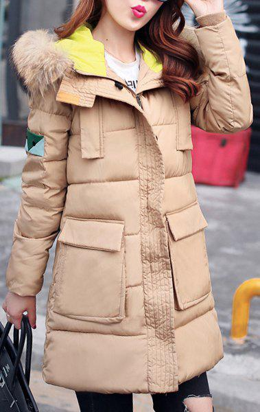 Stylish Hooded Long Sleeve Slimming Women's Coat - KHAKI M