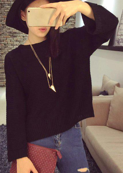 Casual Solid Color Convertible Buttoned Knitted Pullover Sweater For Women - BLACK ONE SIZE(FIT SIZE XS TO M)