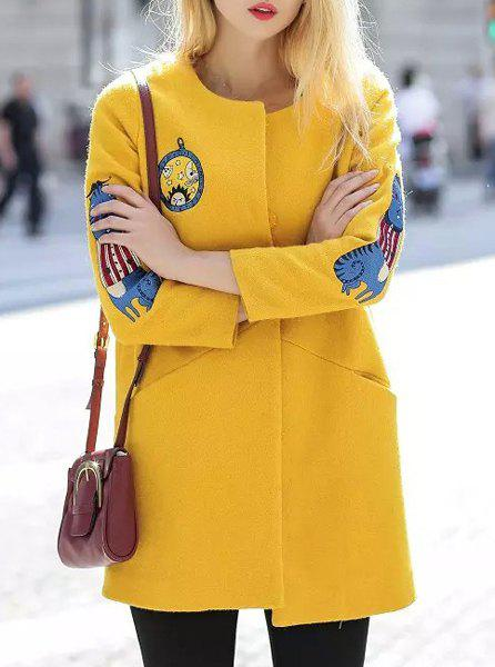 Fashionable Women's Scoop Neck 3/4 Sleeve Embroidered Coat - YELLOW L