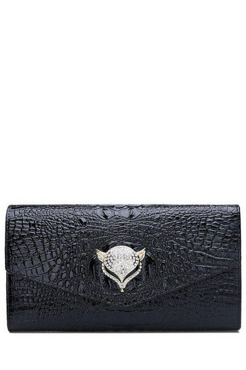 Fashion Rhinestones and Crocodile Print Design Women's Clutch Bag - BLACK