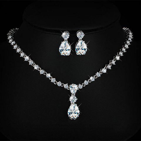 A Suit of Luxury Rhinestoned Waterdrop Necklace and Earrings For Women