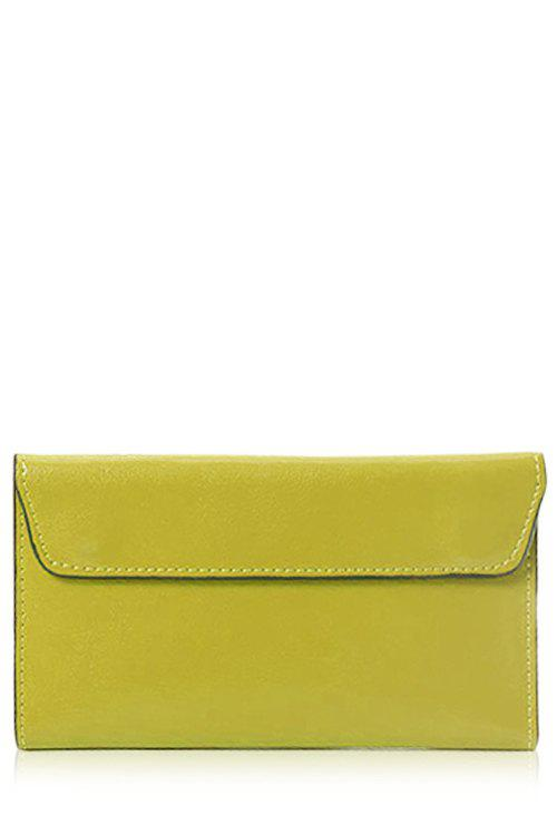Laconic Stitching and Solid Color Design Women's Wallet - LEMON YELLOW