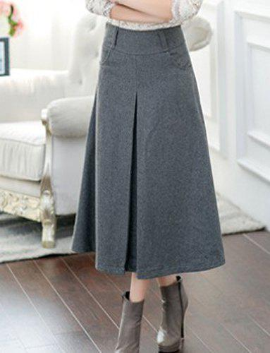 Women's Chic High Waist Pocket Solid Color A-Line Skirt - LIGHT GRAY S