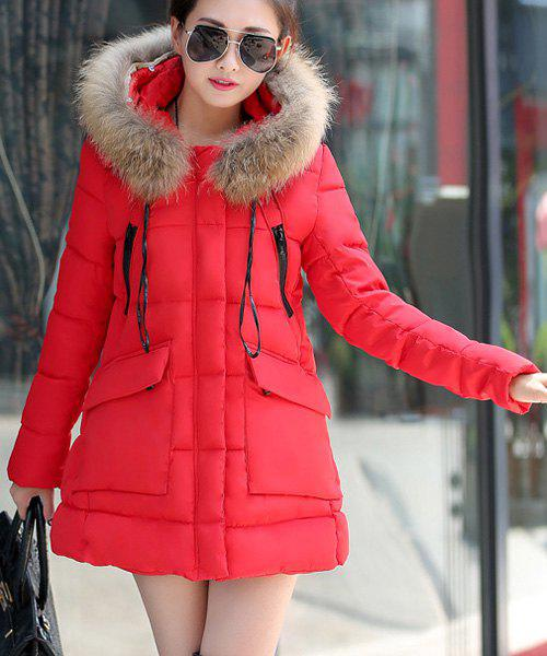 Chic Hooded Long Sleeves Pocket Design Women's Coat - RED XL