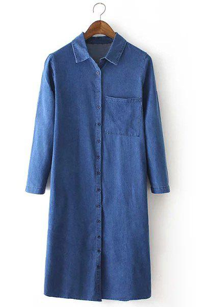 Brief High Slit Polo Collar Long Sleeve Denim Dress For Women - BLUE M
