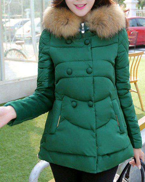 Chic Hooded Long Sleeve Button Design Zippered Women's Coat - GREEN XL