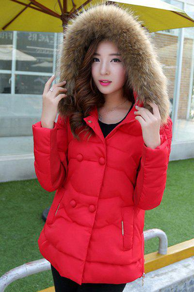 Chic Hooded Long Sleeve Button Design Zippered Women's Coat - RED M