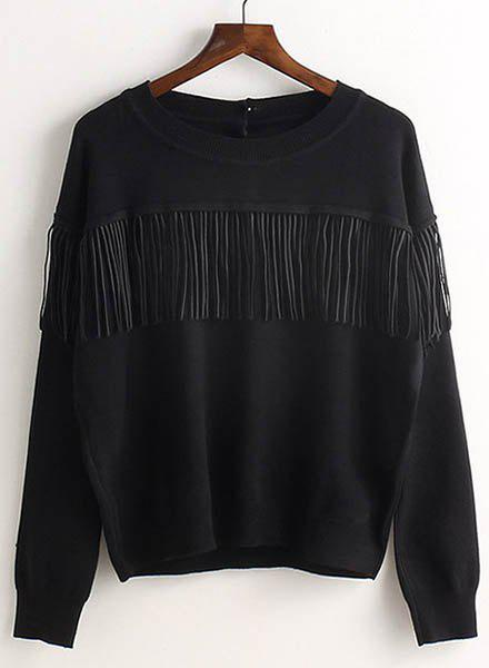 Ethnic Jewel Neck Long Sleeve Fringe Sweater For Women - BLACK ONE SIZE(FIT SIZE XS TO M)