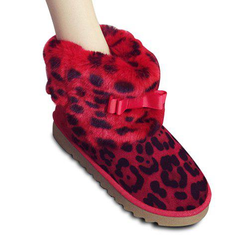 Fashionable Bow and Leopard Printed Design Women's Snow Boots - RED 38