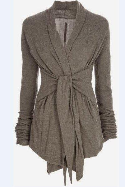 Stylish Turn-Down Collar Long Sleeve Draped Self-Tie Design Women's Coat - GRAY S