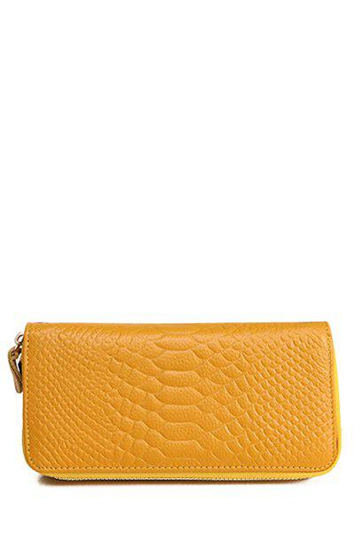 Trendy Crocodile Print and Rivets Design Women's Wallet - YELLOW