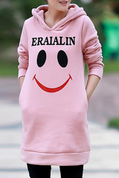 Women's Chic Long Sleeve Letter Printed Loose Sweatshirt - PINK L