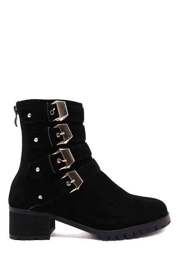 Fashion Metallic Buckles and Rivets Design Women's Ankle Boots - BLACK 39