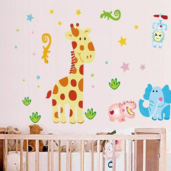DIY Bedroom Cartoon Deer Pattern Decoration Decorative Wall Stickers - COLORMIX