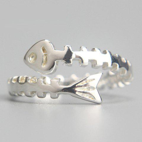 Charming Solid Color Fish Bone Cuff Ring For Women