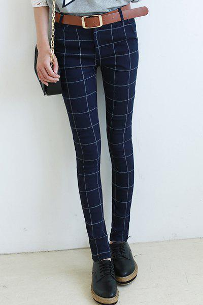 Chic High Waist Plaid Skinny Pants For Women, DEEP BLUE, 2XL in ...
