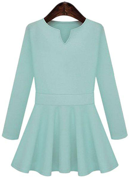 Chic Long Sleeve V Neck Pure Color Women's Dress - LAKE BLUE L
