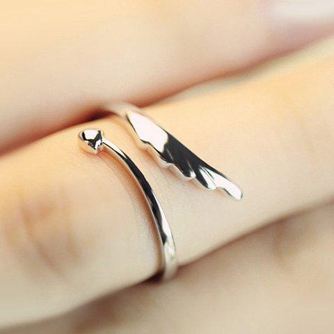 Trendy Wing Shape Solid Color Cuff Ring For Women - SILVER ONE-SIZE