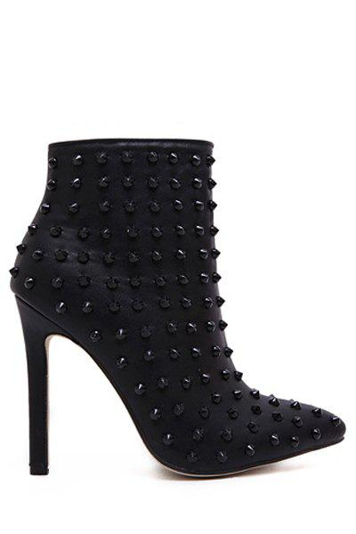 Punk Style Rivets and Pointed Toe Design Women's High Heel Boots - BLACK 38
