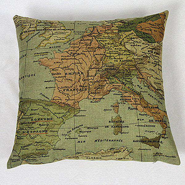 Stylish Home Decorative Linen Blended Cover Map Printed Pillow Case - COLORMIX