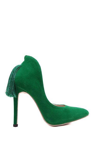 Retro Style Tassel and Stiletto Design Women's Pumps - GREEN 36
