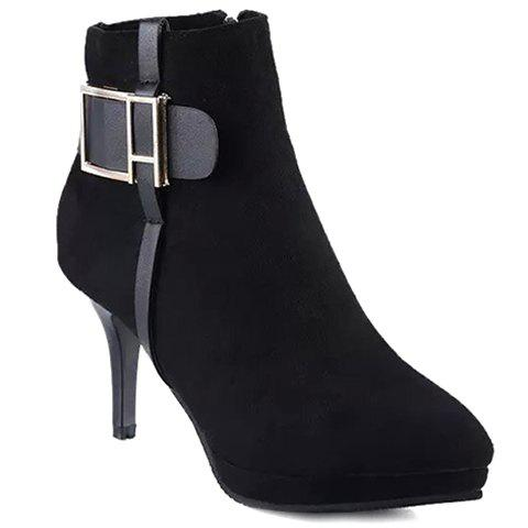 Stylish Buckle and Stiletto Design Short Boots For Women - BLACK 38