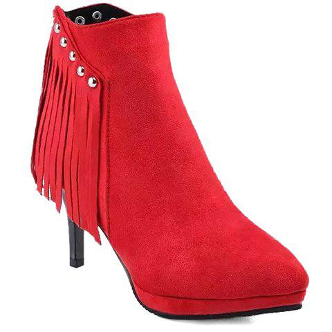 Fashionable Fringe and Rivets Design Short Boots For Women - RED 38
