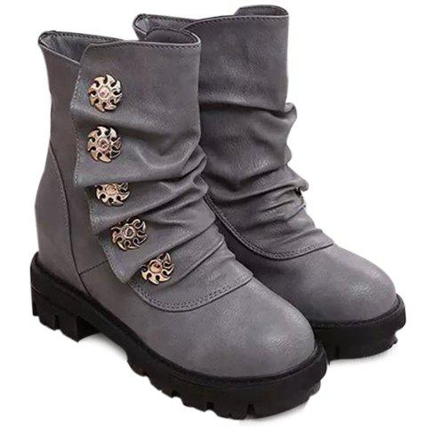 Concise Ruffle and Metal Design Short Boots For Women - GRAY 36