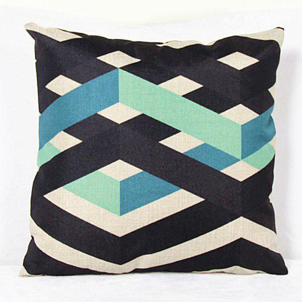 Charming Colorful Stripe Printed Square New Composite Linen Blend Pillow Case