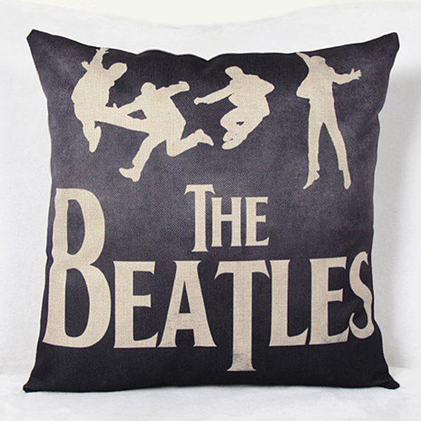Hip-Pop Letter Printed Square New Composite Linen Blend Pillow Case - AS THE PICTURE