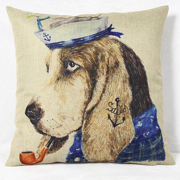 Cool Animal Printed Square New Composite Linen Blend Pillow Case - COLORMIX
