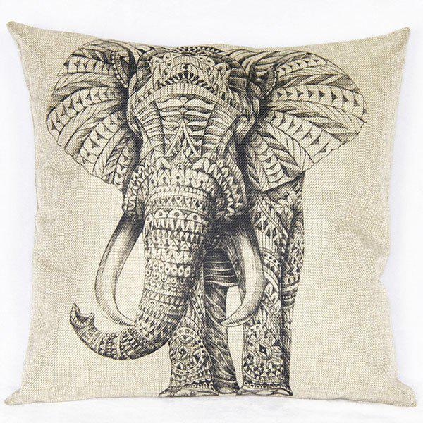 Lovely Elephant Printed Square New Composite Linen Blend Pillow Case - WHITE/BLACK