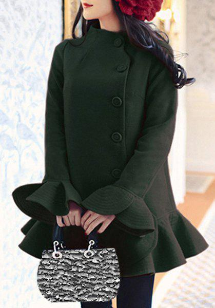 Attractive Stand Collar Solid Color Long Petal Sleeve Flounce Wool Coat For Women - BLACKISH GREEN L