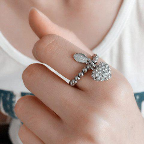 Stylish Rhinestone Heart Stretchy Ring For Women - SILVER ONE-SIZE