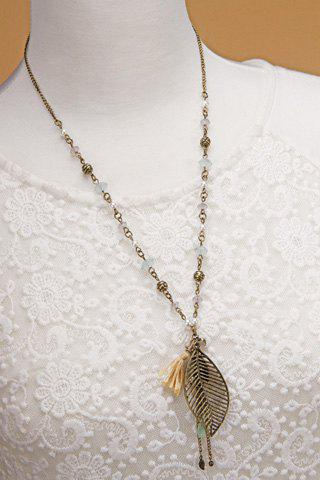 Vintage Leaf Tassel Faux Pearl Sweater Chain For Women - COPPER COLOR