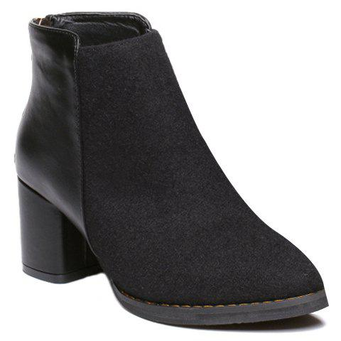 Stylish Splicing and Chunky Heel Design Ankle Boots For Women - BLACK 38
