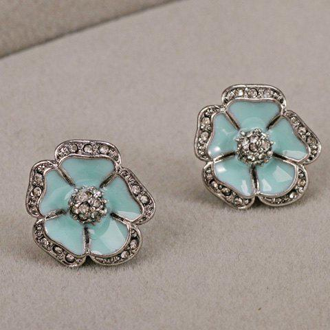 Rhinestone Embellished Flower Stud Earrings - LIGHT BLUE