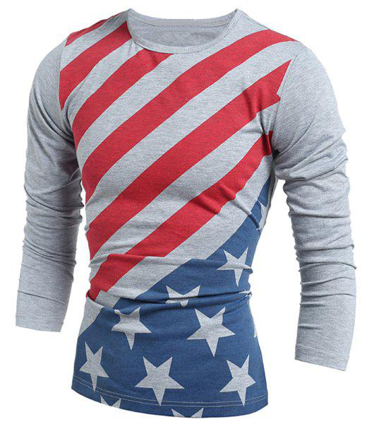 Vogue Slimming Round Neck American Flag Print Color Block Men's Long Sleeves T-Shirt - GRAY M