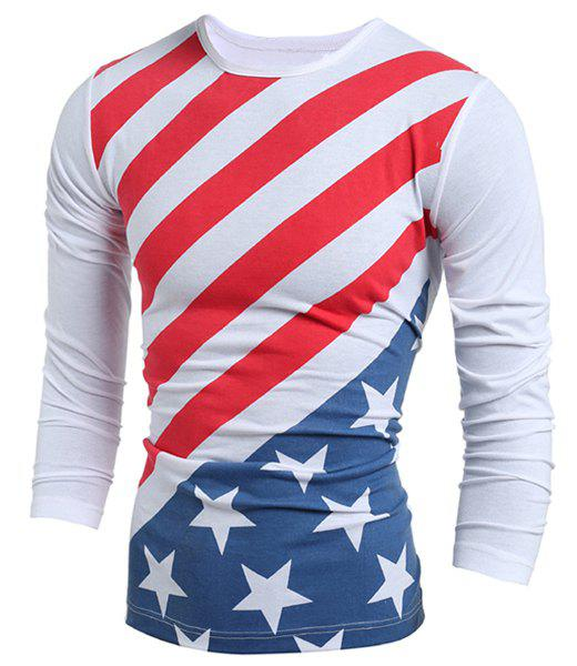 Crew Neck American Flag Long Sleeve T-Shirt - WHITE L