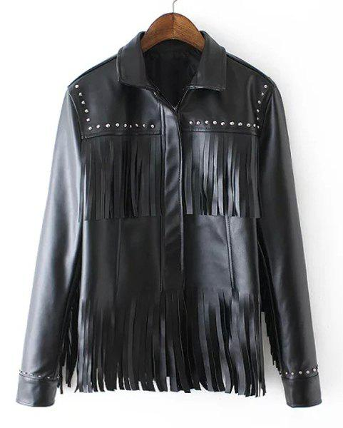 Chic Women's Turn-Down Collar Long Sleeve Stud Embellished Fringed PU Jacket - BLACK L