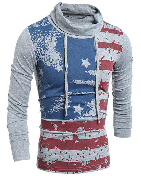 Western Style Drawstring Heaps Collar American Flag Print Hit Color Long Sleeves Men's Slim Fit T-Shirt - GRAY L