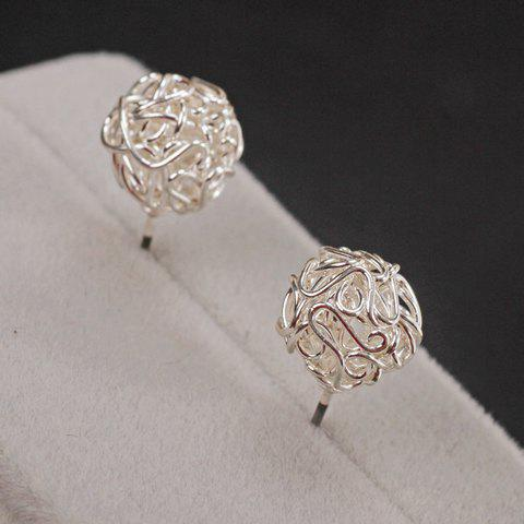 Pair of Stylish Twist Solid Color Ball Earrings For Women - SILVER WHITE