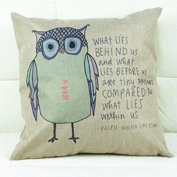 Lovely Cartoon Owl Printed Square Composite Linen Blend Pillow Case - COLORMIX