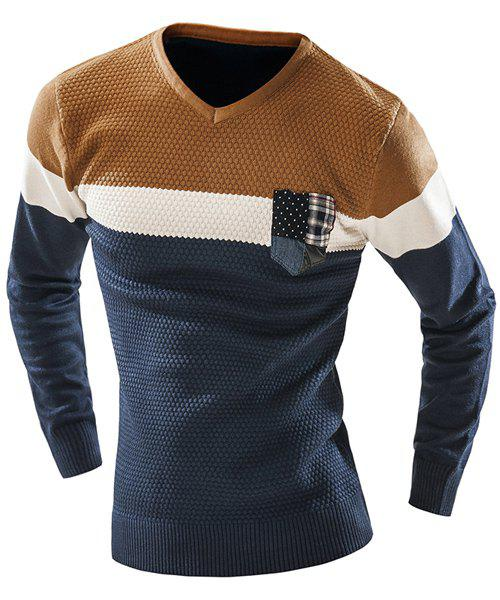 Checked Pocket Color Lump Spliced Geometric Pattern V-Neck Long Sleeves Mens Slimming SweaterMen<br><br><br>Size: 2XL<br>Color: CADETBLUE